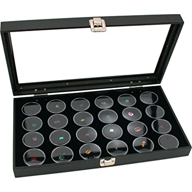 Amazoncom FindingKing Glass Top Jewelry Display Case Box Black 24