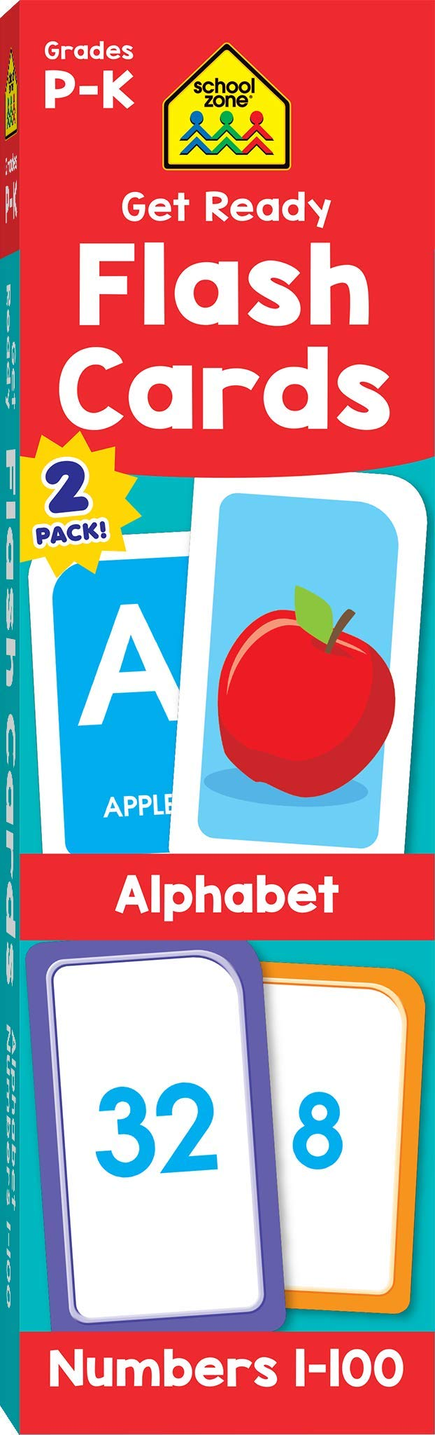School Zone - Get Ready Flash Cards Alphabet & Numbers 2 Pack - Ages 4 to six, Preschool to Kindergarten, ABCs, Uppercase and Lowercase Letters, Numbers 1-100, Counting, and More
