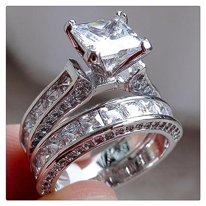 Amazon Com Diamond Ring Vintage Women Men Couple Ring Set For