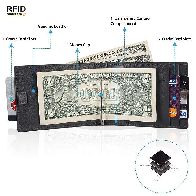 761fad3d4 POLICE RFID Blocking Leather Wallet Slim Bifold Genuine Leather ...
