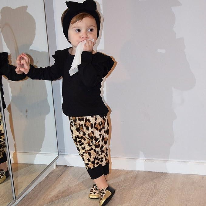 c855e6699a939 Sunenjoy Bébé Fille 2 PCs Ensemble Tenues Noir Long Manchon Tops + Leopard  Pantalon Vêtements pour 0-24 mois  Amazon.fr  Vêtements et accessoires