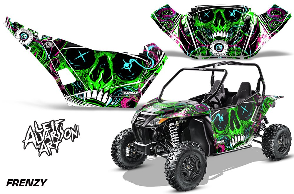 AMRRACING Arctic Cat Wildcat Sport Limited Full Custom UTV Graphics Decal Kit Leif Alvarsson Art Frenzy Green