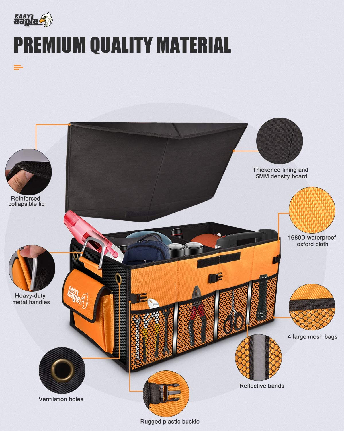 Black EASY EAGLE Car Boot Organiser Car Tidy Organization with Foldable Cover and Sturdy Metal Handles Non-Slip Collapsible Trunk Organiser