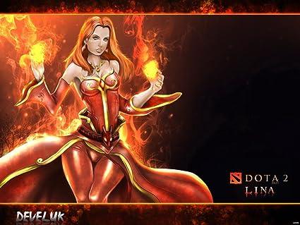 Amazon com: Dota 2 Hero Lina the Slayer Fire Mage Game Fan Art 32x24