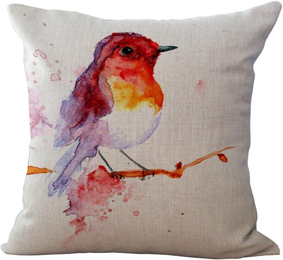 Motifs oiseaux Housse de coussin d/écorative Hengjiang En coton et lin