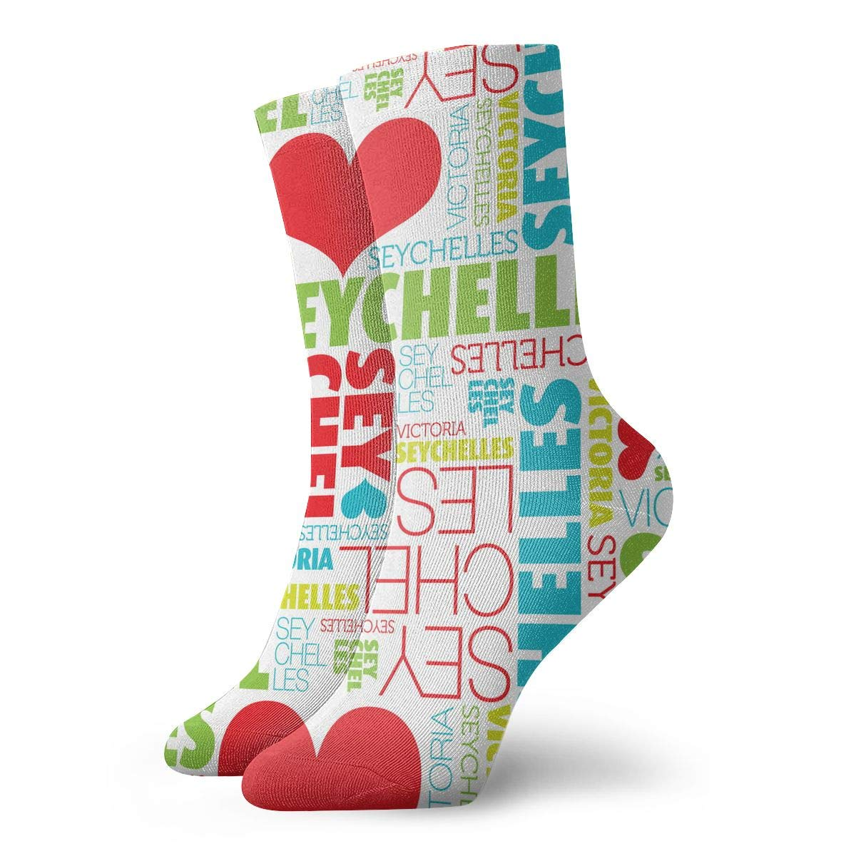 Women Men I Love Seychelles Victoria Pattern Cushion Ankle Socks