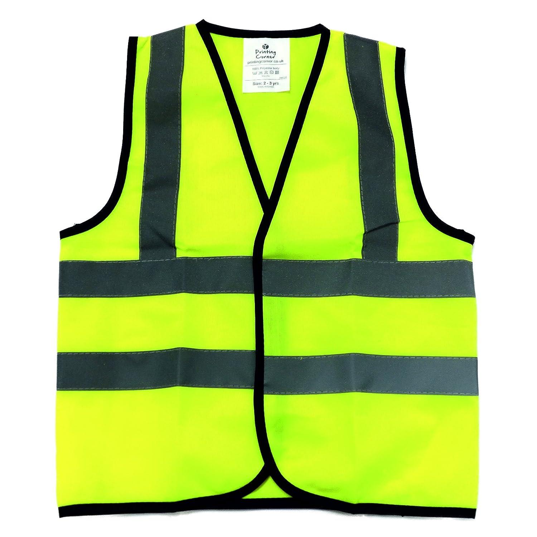 Kids High Visibility Hi Viz Safety Vest Top Hi Vis Baby Toddler Waistcoat Childrens Yellow Reflective vest 5, 4-6 Years