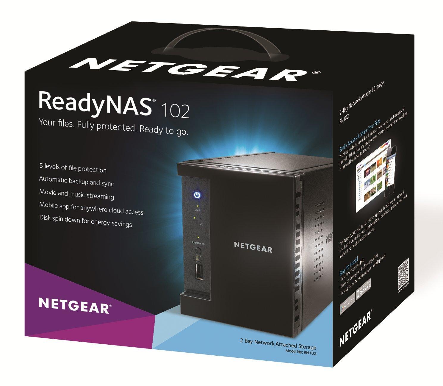 NETGEAR ReadyNAS 102 2-Bay Network Attached Storage 6TB (RN10223D-100NAS) by NETGEAR