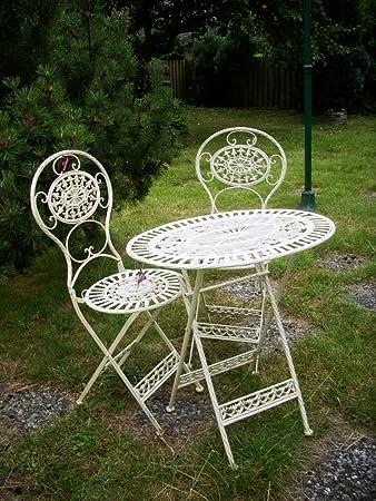 Amazon.de: Metalltisch mit 2 Stühlen, antik - weiß, als ...
