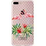 iPhone 7 Plus Case, FrontSun Cute Flamingo Clear Design Printed Transparent Plastic Back Case with TPU Protective Phone Case Cover for Apple iPhone 7 Plus (5.5 Inch)