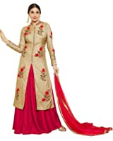 AnK Women's Chiku Cotton Embroidered semi stitched salwar suit with two bottom (Salwar)