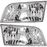 Driver and Passenger Headlights Headlamps Replacement for Ford 4W7Z 13008 A 4W7Z 13008 B