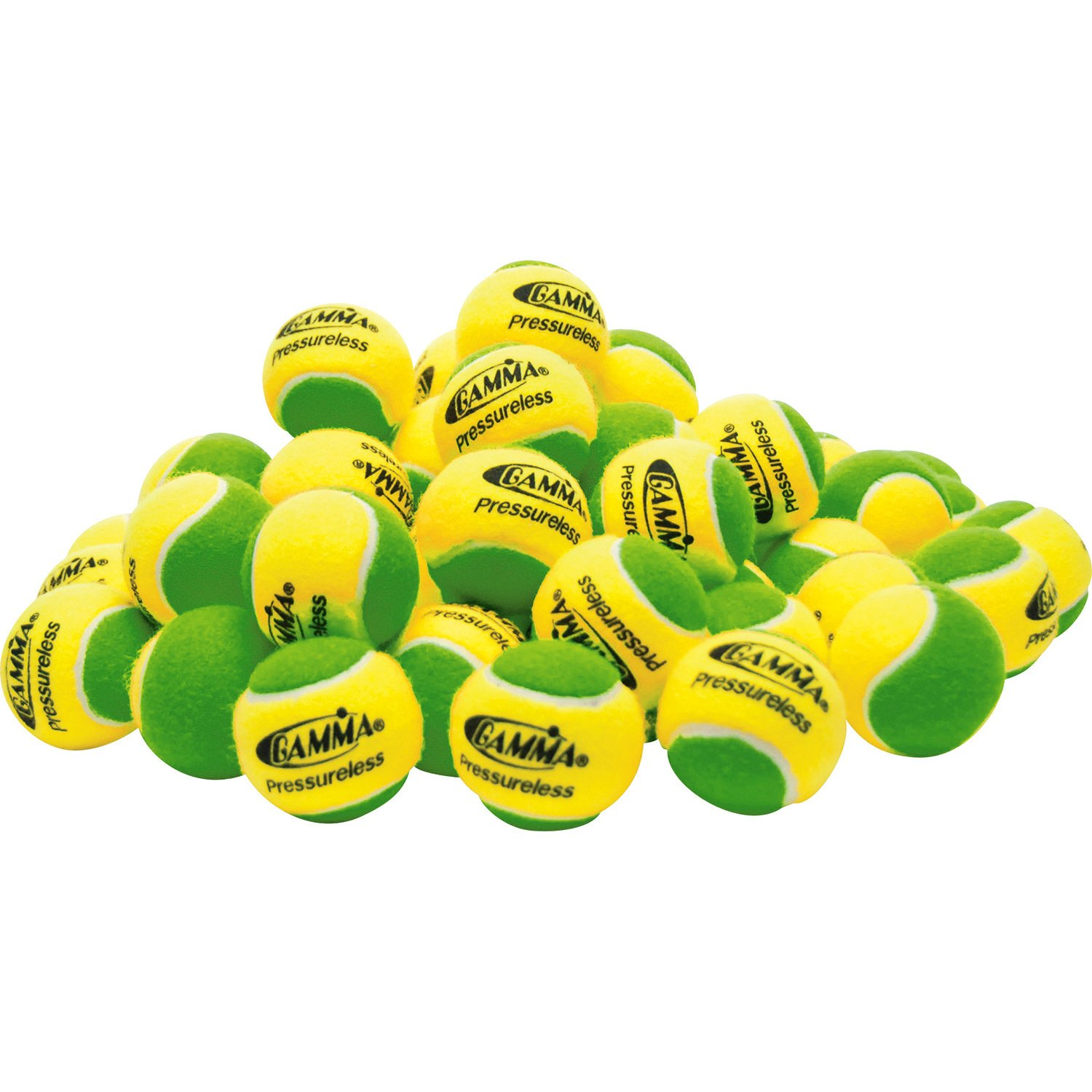 Gamma Sports Pressureless Practice Tennis Balls, Yellow/Green - Pack of 60