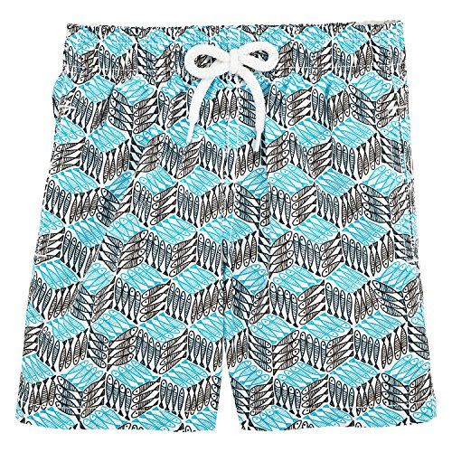 Vilebrequin Fishes Cube Swim Shorts - Boys - azure - 8Yrs by Vilebrequin