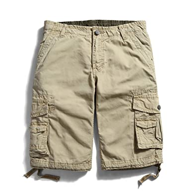 f0401f4909 OCHENTA Men's Cotton Casual Multi Pockets Cargo Shorts #3231 Khaki 29