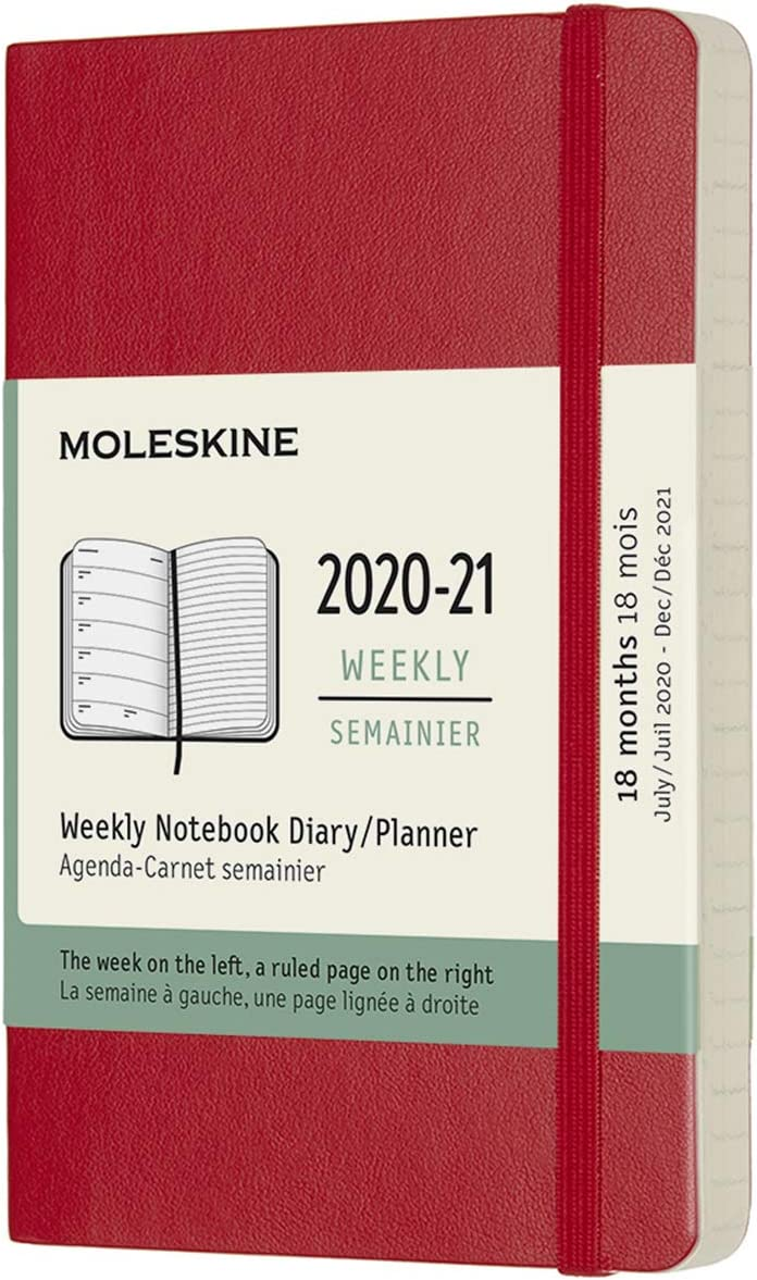 Weekly Planner 2020//2021 208 Pages Weekly Notebook with Soft Cover and Elastic Closure Size Large 13 x 21 cm Moleskine 18-Month Weekly Planner//Diary Colour Sapphire Blue