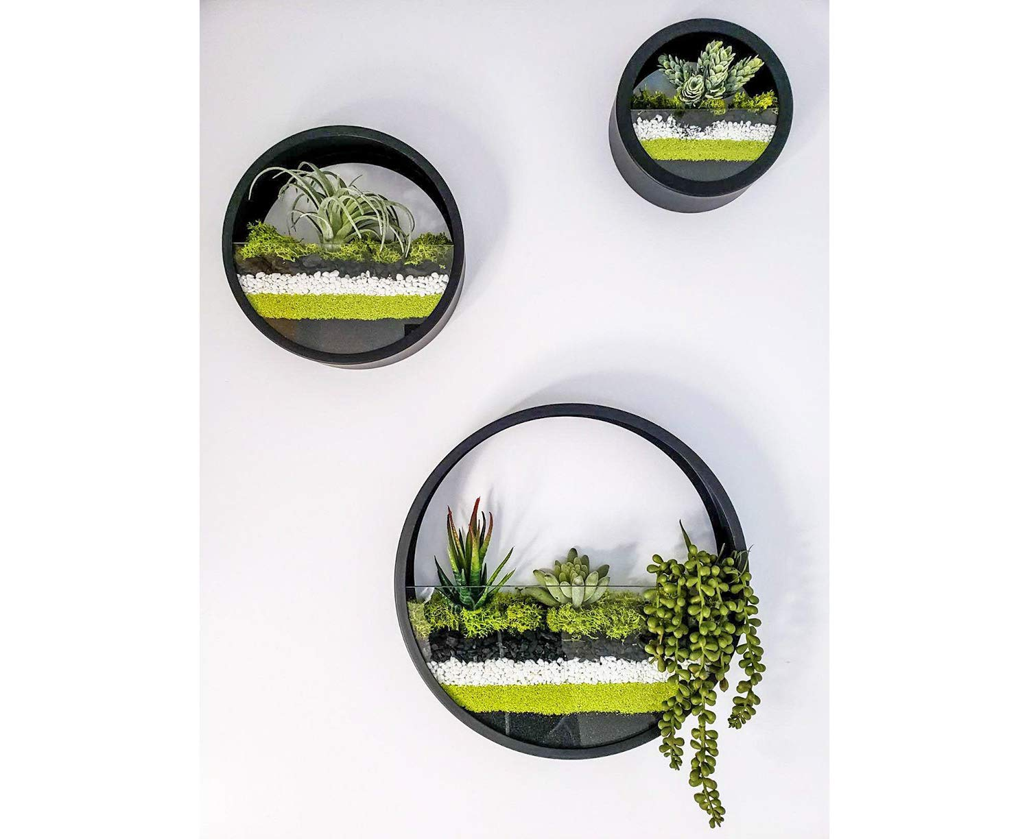 Round Hanging Wall Vase Succulent Planter Vase- Metal Flower Pots, Indoor Decorative Air Plants Container Faux Plants, Cacti and More, Dark Black Color – in Gift Box Set of 3