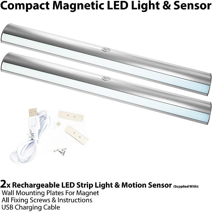 2 tiras de luces LED recargables y magnéticas con sensor de movimiento automático PIR y detector de movimiento - armario de cocina, bajo armario, ...
