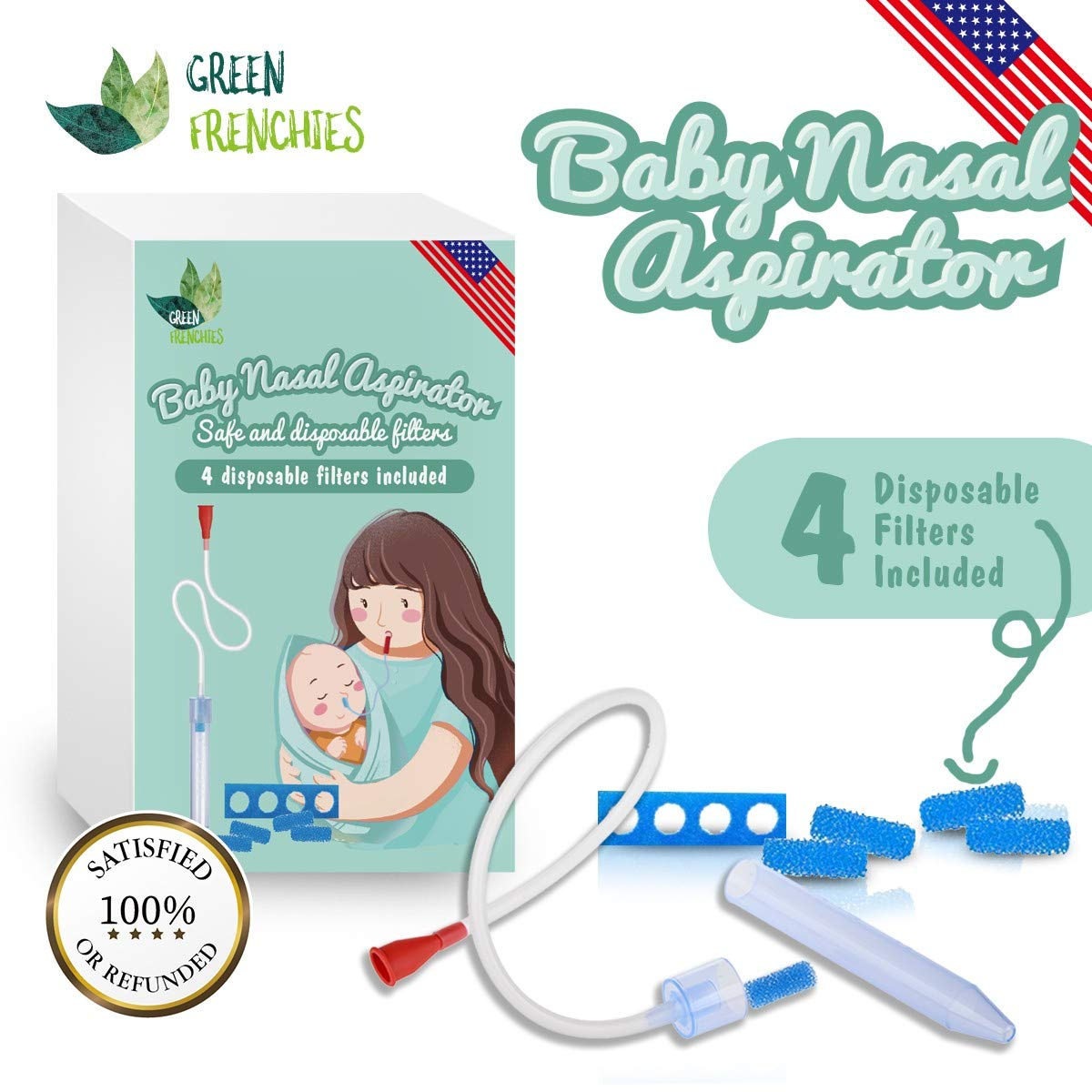 Nasal Aspirator - Baby Nasal Spray - Snot Sucker + 4 Filters by Green Frenchies