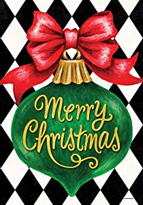 Custom Decor Merry Christmas Ornament - Garden Size, Decorative Double Sided, Licensed and Copyrighted Flag - Printed in The USA Inc. - 12 Inch X 18 Inch Approx. Size