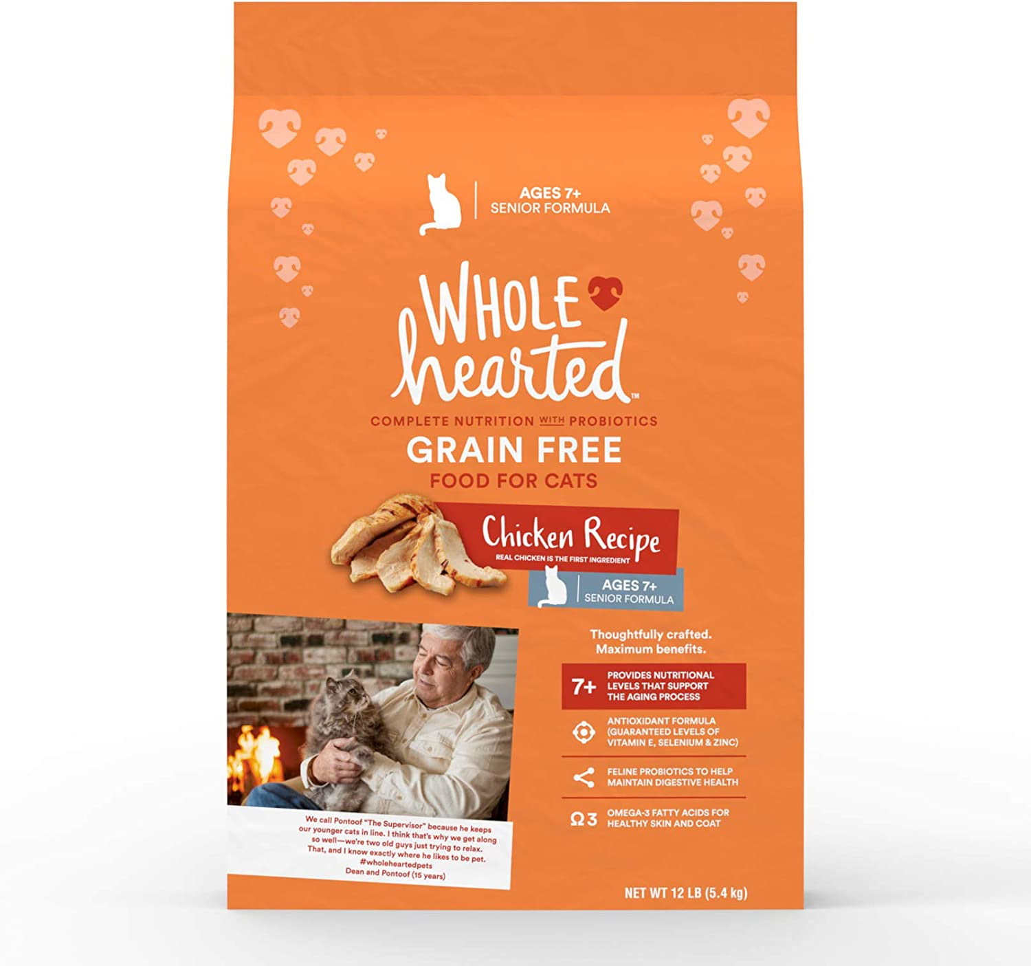 WholeHearted Grain Free Senior Chicken Recipe Dry Cat Food, 12 lbs.