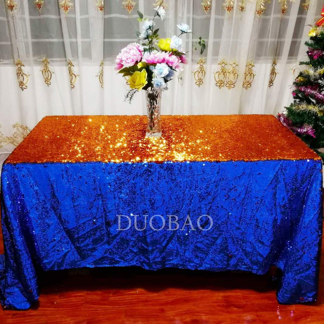DUOBAO Sequin Tablecloth 60x84-Inch Royal Blue Mermaid Sequin Fabric Royal Blue to Orange Glitter Tablecloth Reversible tablecloths for Rectangle Tables~0516