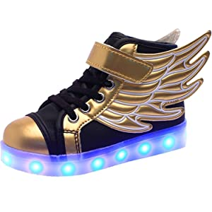 Reinhar Fashionable Boys Fashion Sneakers LED Luminous USB Rechargeable Casual Shoes Gold8.5 M US Toddler
