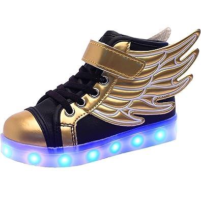 28de86fe54d Reinhar Fashionable Boys Fashion Sneakers LED Luminous USB Rechargeable  Casual Shoes Gold1 M US Little Kid