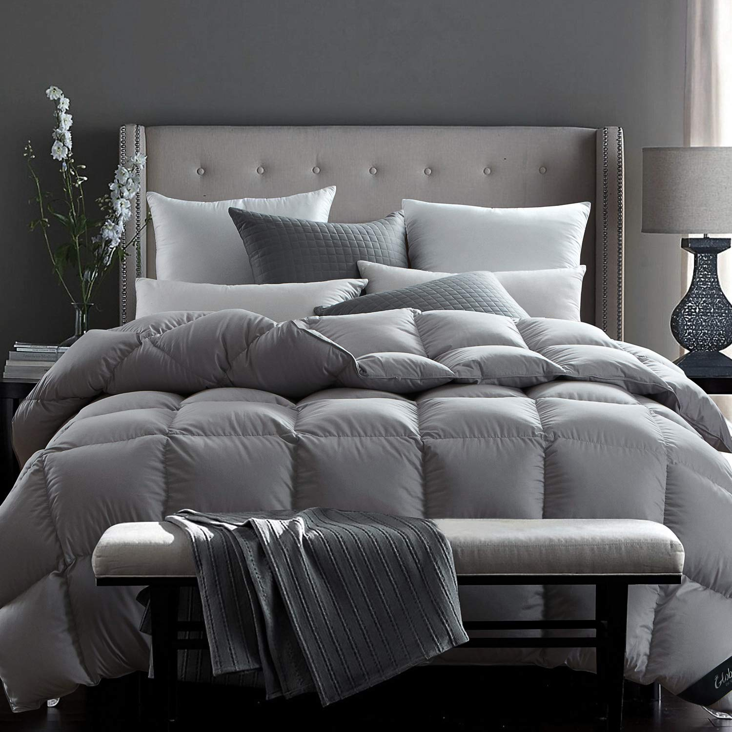 Globon Fusion White Goose Down Comforter Queen Size, 50 Ounce, 600 Fill Power, All Cotton 300 Thread Count Shell, Hypoallergenic, With Corner Tabs, Winter, Grey, XJMY-B17011 by Globon