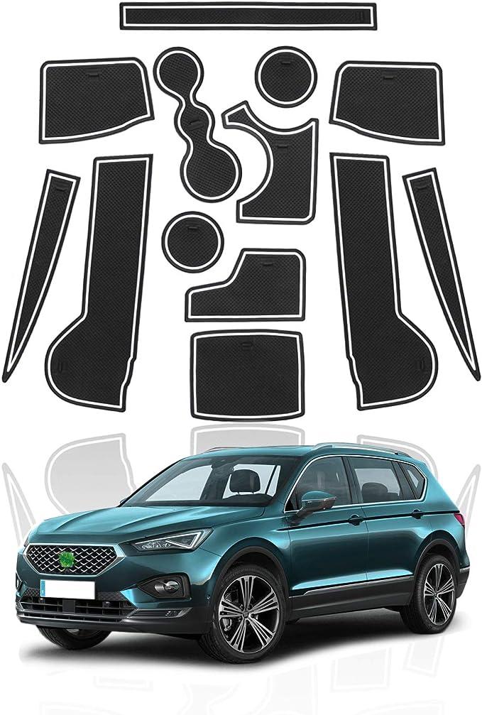Yee Pin Gummimatten Seat Tarraco 2019 5 Seater Car Zubehör Interieur Rutschfeste Matten Für Mittelkonsole Aufbewahrungsbox Autoteile Innenausstattung Weiß Auto