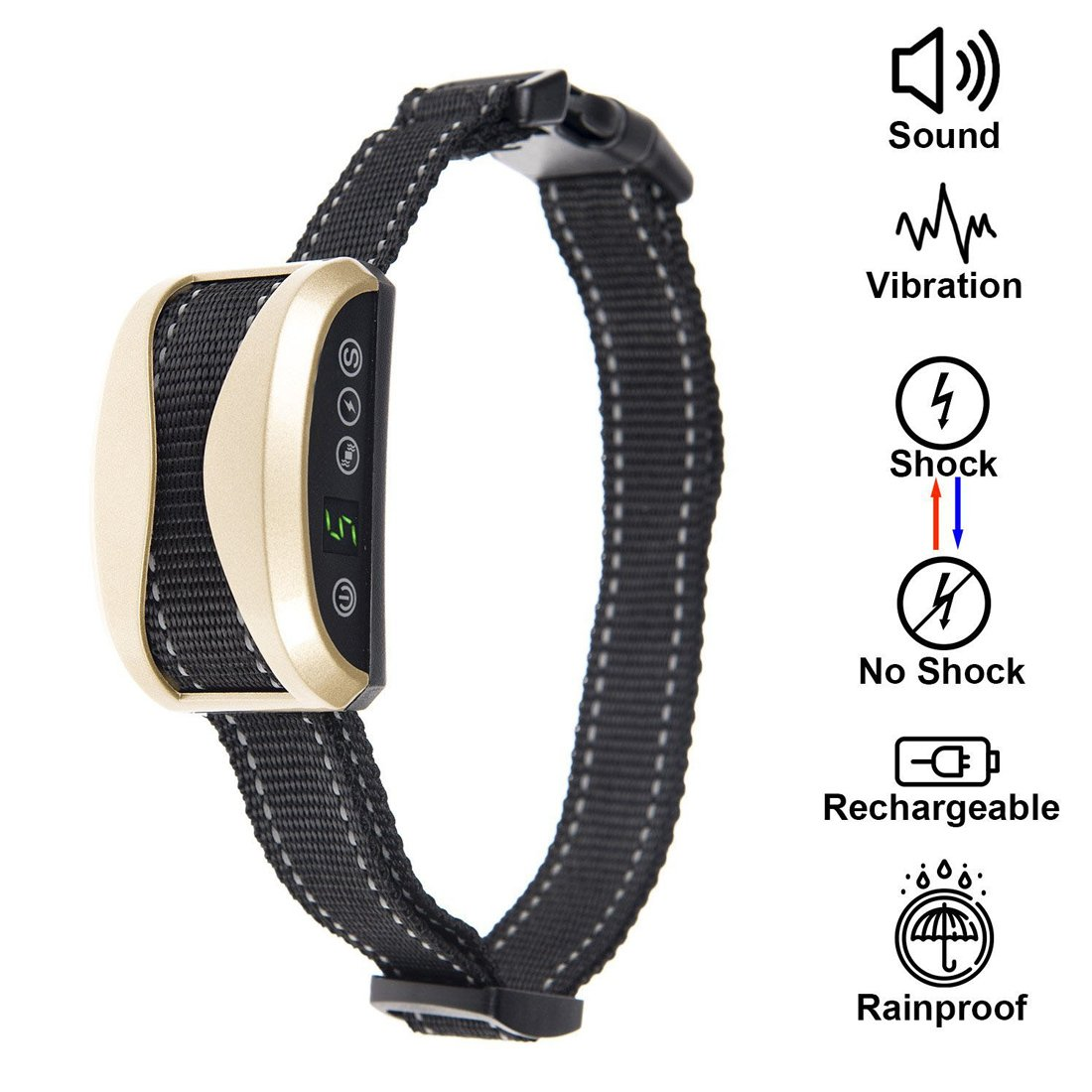 gold Bark Collar Upgrade 7 Sensitivity Rechargeable Humane Dog No Bark Collar by LKPET with Rechargeable, Rainproof, with Shock Vibration Beep Modes for Small Medium Large Dog