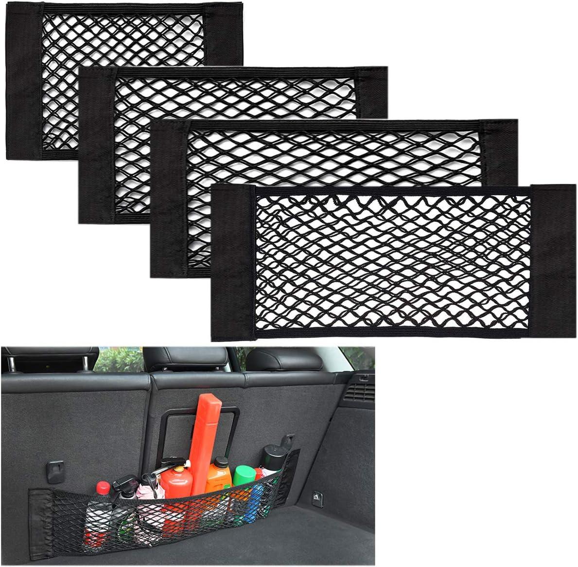 Yueser Kofferraum Netztasche 4 Stück Kofferraum Organizer Mit Starken Klettstreifen Für Universal Auto Kofferraum Gepäcknetz 4 Größen Auto