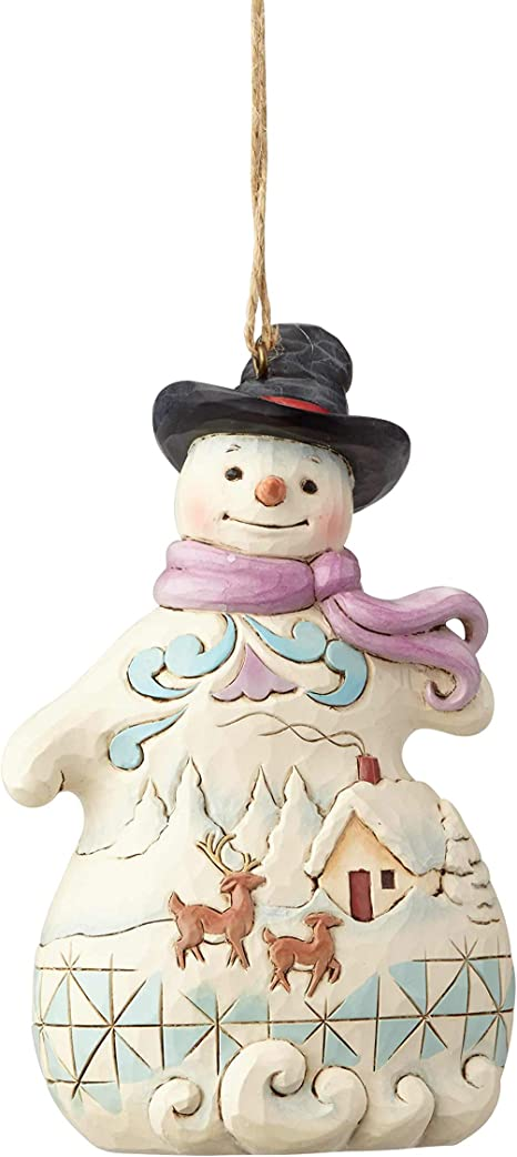 Amazon Com Enesco Jim Shore 6001514 Snowman With Snow Scene Ornament Multicolor Home Kitchen
