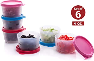 Reusable Plastic Food Storage Containers – Stackable Airtight Food Containers for Snacks, Picnics, Food Prep, Picnics and more – Set of 6 in Various Sizes – Dishwasher, Microwave and Freezer Safe 4oz