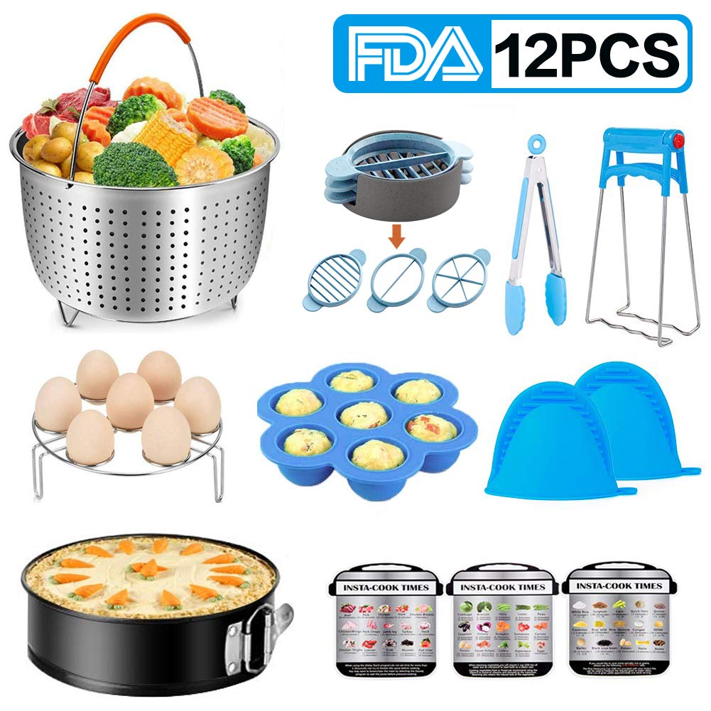 Instant Pot Accessories Set - 12 PCS Instant Pot Accessories Compatible with 6,8Qt, Includes Steamer Basket, Spring form Pan, Egg Rack, Bowl Clip,Food Clip and more, Pressure Cooker Accessories Set