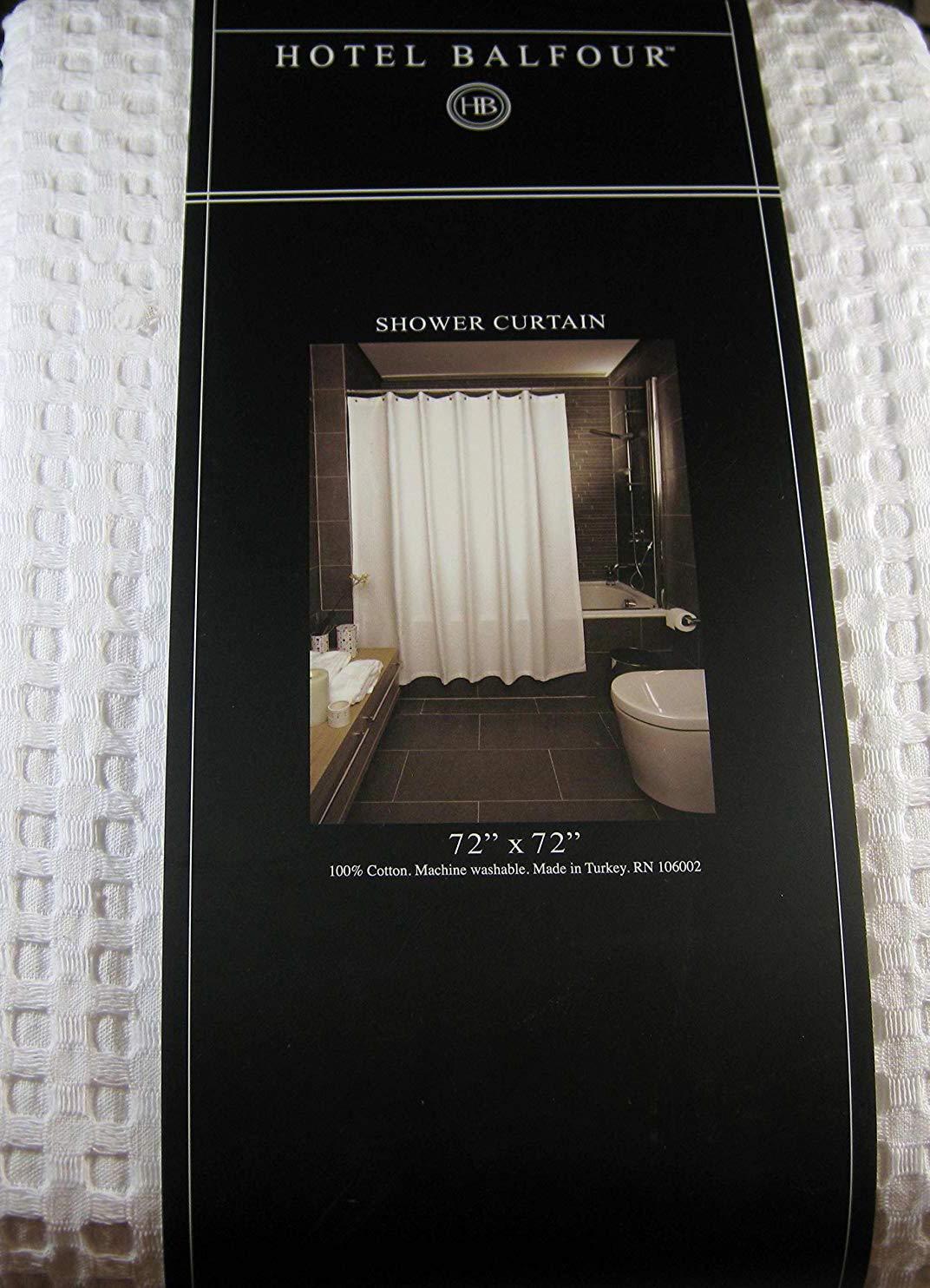 Hotel Balfour Premium Quality Fabric Shower Curtain White Waffle Weave 100 Cotton 72 X Amazonca Home Kitchen