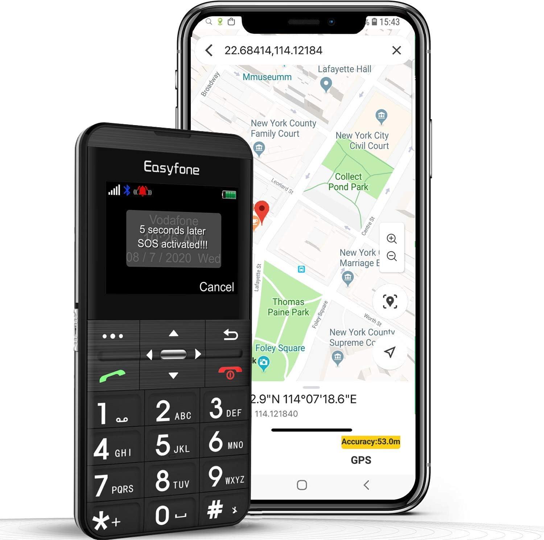 Teléfono móvil para personas mayores con GPS y teclas grandes