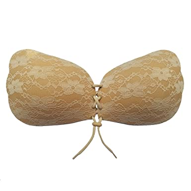 272247ee145 Titu Strapless Backless Plus Size Bra - Reusable Push up Sticky Lace Bras  for Women A