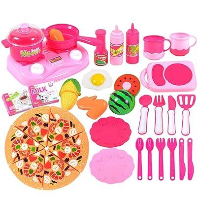 35 Pcs Cuisine Jouets, Lommer Cuisine Cuisine Jouet Ensemble Pretend Play Jeu Début Jouet Éducatif pour Enfants Enfants