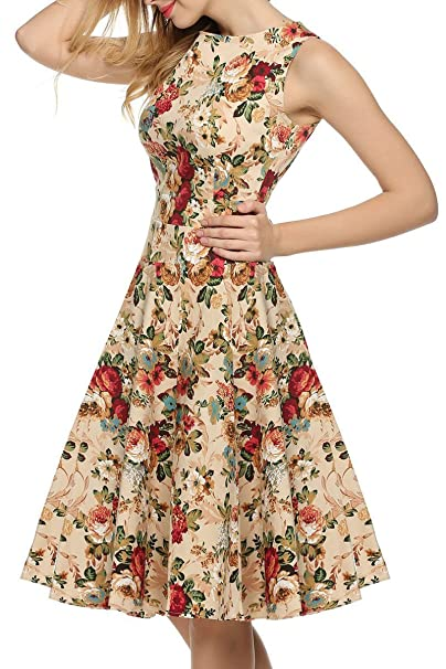 Las mujeres verano vintage retro años 50 Swing Rockabilly Pinup Fiesta vestidos de fiesta talla 38