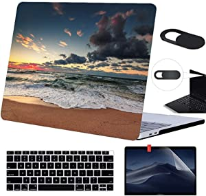 Funut MacBook Pro 13 Case 2019 2018 2017 2016 Release,Plastic Case Screen Protector Keyboard Cover Webcam Cover,Protective Laptop Case Hard Shell for MacBook Pro 13 (A2159 A1989 A1706 A1708), 01 Beach