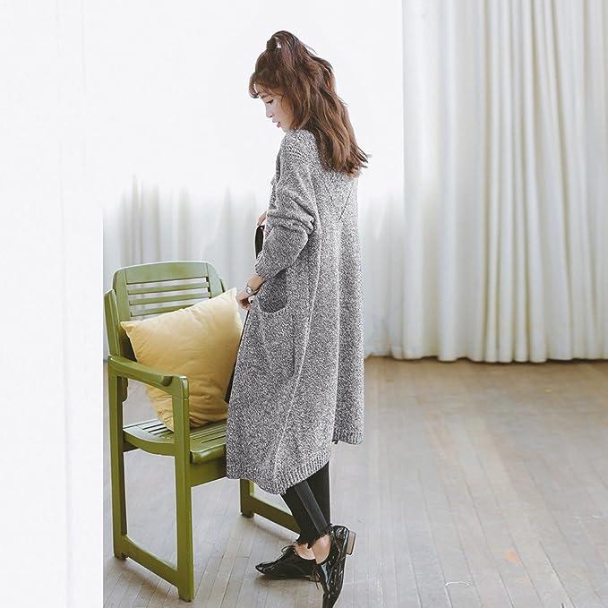 ... de Moda Casual Color sólido de Manga Larga de Gran tamaño suéter de Punto Suelto Cardigan Outwear Coat(Un tamaño, Gris): Amazon.es: Ropa y accesorios