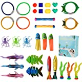 Pool Toys Diving Toy, Swimming Pool Toy Set Dive Rings Diving Sticks Pool Fish Diving Gems, Diving Pool Toy with Storage Bag