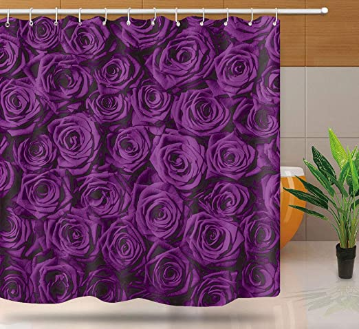 Purple Rose Floral Flowers Shower Curtain Set with Vinyl Liner Plastic and Hooks