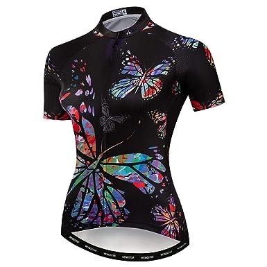302bc577c Women s Team Pro Short Sleeve Cycling Jersey Bike Biking Shirt Butterfly  Black S