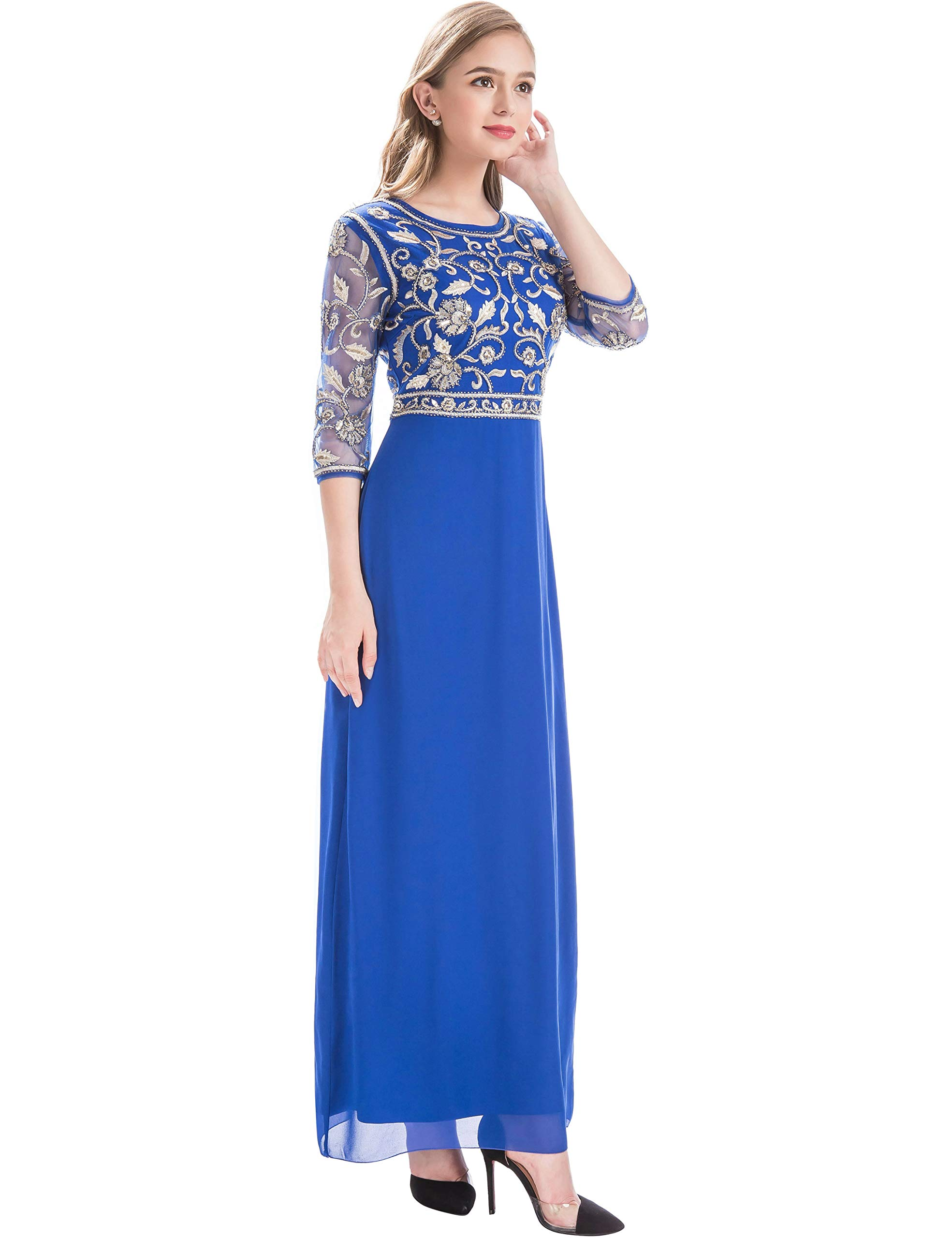 MANER Women Chiffon Beaded Sequin 3/4 Sleeve Long Gowns Prom Evening Bridesmaid Dress (L, Royal Blue/Gold)