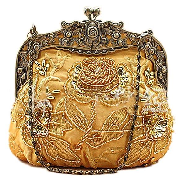 Vintage & Retro Handbags, Purses, Wallets, Bags Belsen Womens Vintage Beaded Sequin Flower Evening Handbags $26.94 AT vintagedancer.com