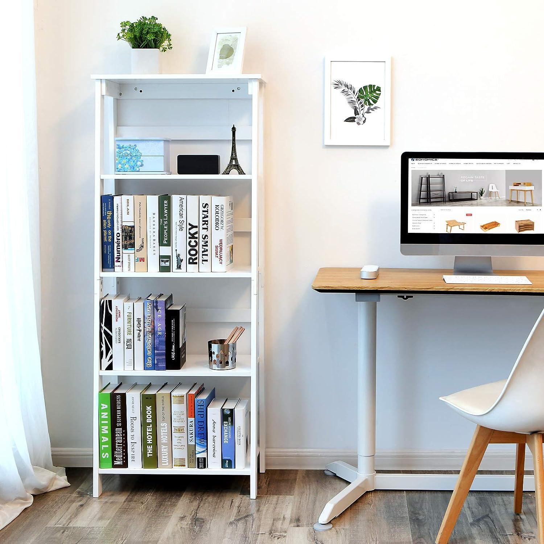 SONGMICS Estantería Escalera, Estanterias librerias, Librería de 4 Niveles, Organizador Multifuncional para Sala de Estar, Terraza, Blanco LLS90WT: ...