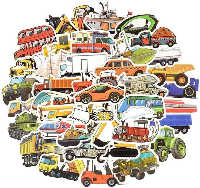 Ligoi - 50 pegatinas de dibujos animados de transporte