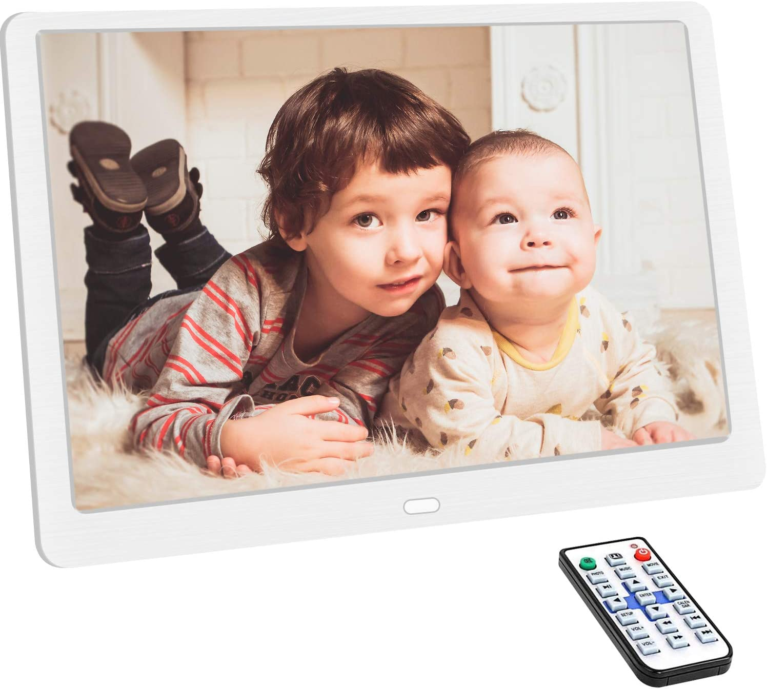 10.1 Inch Digital Photo Frame with 1920×1080 HD IPS Screen Remote Control Display Picture Music Video Calendar Alarm Timer on/Off by SD Memory Card U Disk (Support 64G) USB Device (White)